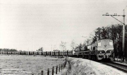 Verleden 1973 - Locs 2226+2221+2208+2335 met trein 519724 (erts) op de lijn Ede-Barneveld ter hoogte van de halte Barneveld-Voorthuizen.